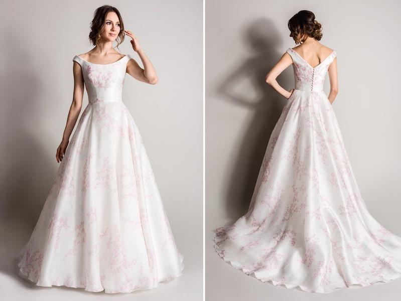 White And Pink Flower Print Wedding Dress