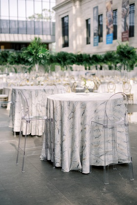 wedding reception cleveland museum of art ghost bar stools at tables with marble design linen