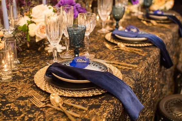 wedding styled shoot, teal glassware, black and gold linens