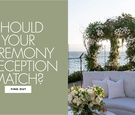 oceanfront lounge area for wedding with lush chuppah of greenery and white flowers in the back