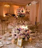 Romantic pastel reception décor with golden accents