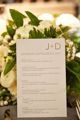 wedding reception menu card first course second course entree choices dessert, wines modern design