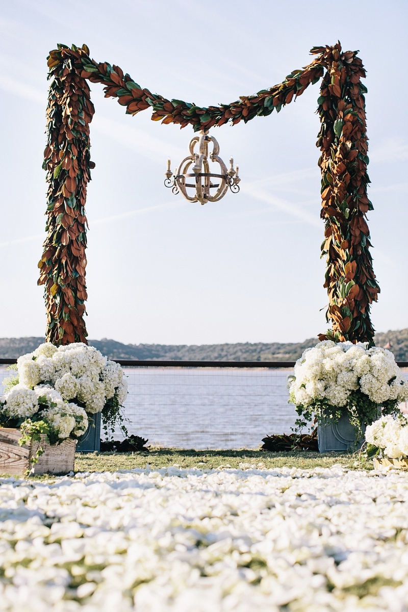 Archway made of magnolia leaf garlands