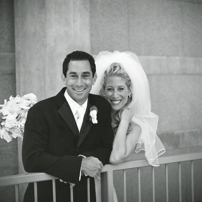 black and white newlyweds picture