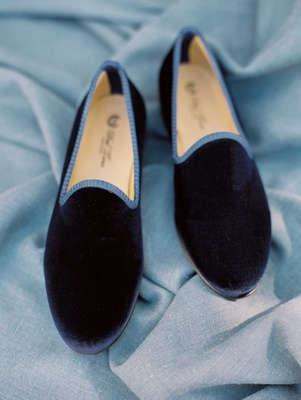 Navy blue velvet slippers for groom with lighter blue trim wedding shoes