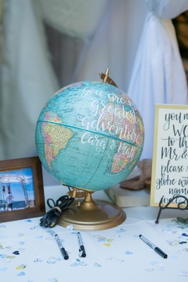 globe as guest book for couple that loves to travel