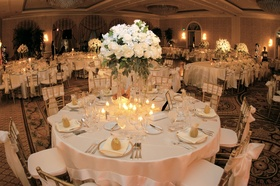 Ivory linens on round tables