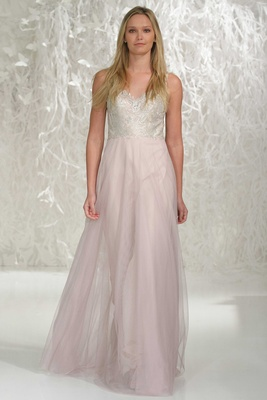 Wtoo Bridesmaids 2016 bridesmaid dress with pink skirt and silver embroidery on v-neck bodice