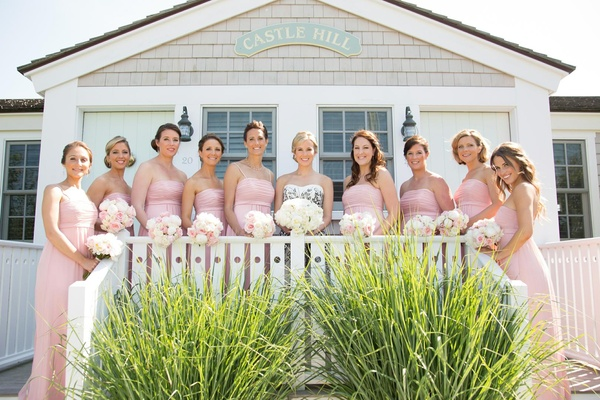 Castle Hill Inn summer wedding with pink bridesmaids
