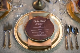 red octagonal dinner menu gold details wedding styled shoot classic vintage calligraphy setting
