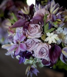 Purple and white wedding flower bouquet