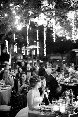 Garden wedding dinner reception at Saddlrock Ranch Malibu CA