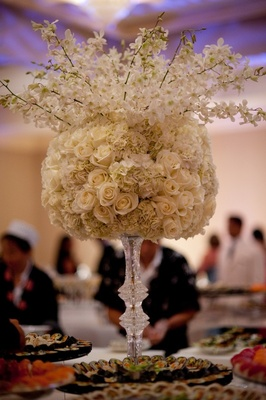 White and ivory flower centerpiece