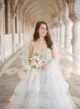 Bride in Hayley Paige wedding dress grey silver beaded bodice pink peony white rose flowers veil