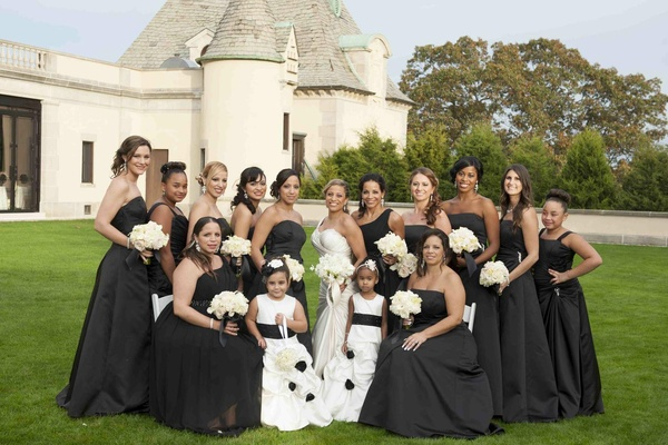 Bride with bridesmaids and flower girls