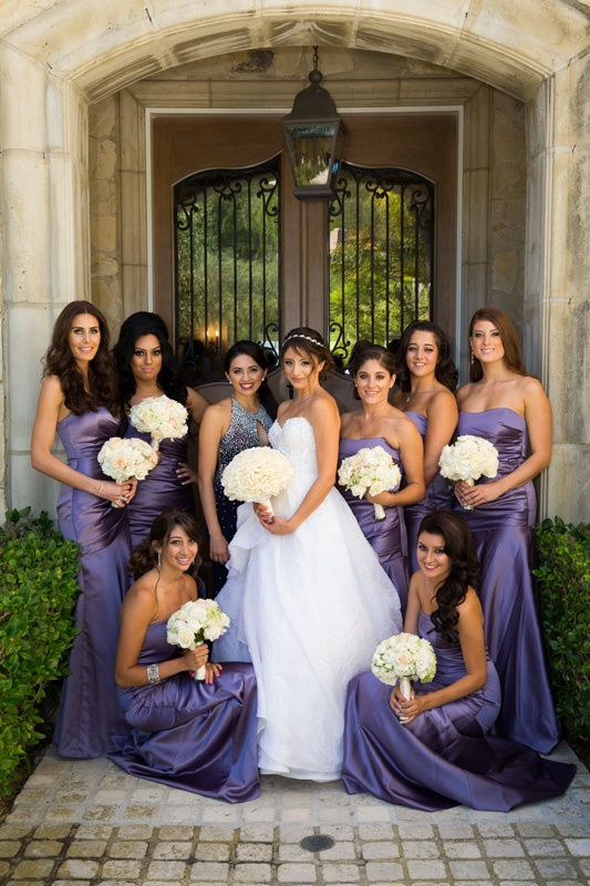 Strapless purple bridesmaid dresses with ruched bodices