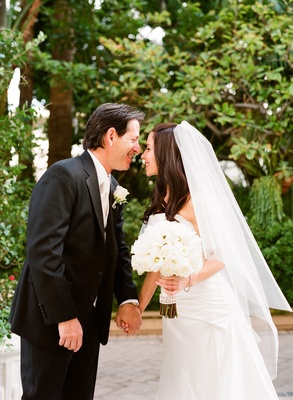 Bride and groom at the Wetherly Garden of the Four Seasons Los Angeles at Beverly Hills