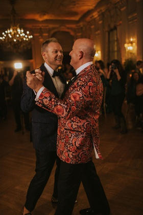 wedding reception gay lgbt same sex first dance rosecliff mansion newport rhode island floral tuxedo