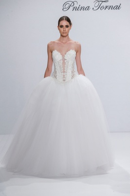 Pnina Tornai for Kleinfeld 2017 Dimensions Collection strapless princess ball gown beaded basque