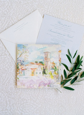 Wedding invitation enclosure handpainted artwork watercolor of italy ravello with room blocks save t
