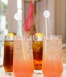 bridal shower beverages drinks pink lemonade and iced tea with lemon white drink stick stirrer