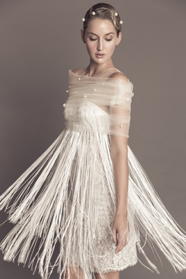 26e71851741 Francesca Miranda Fall 2016 Luisa fringe short wedding dress with pearl  shawl.