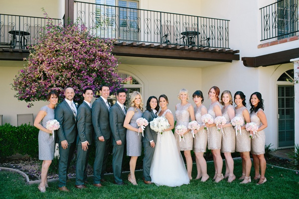 bride in winnie couture, bride in art lewin suit, bridemaids in bhldn and j. crew, bridesmen