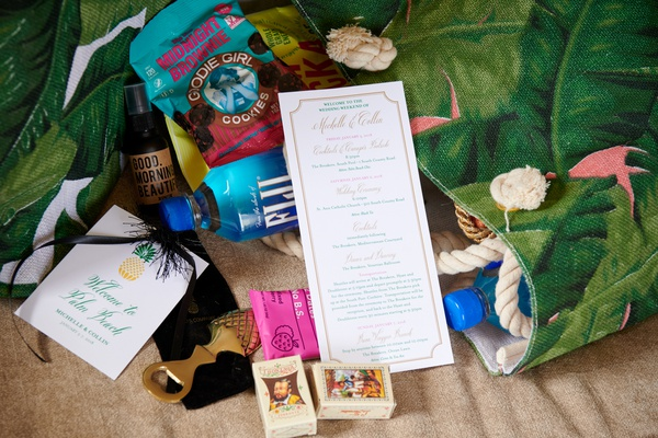 tropical welcome bag for palm beach florida destination wedding