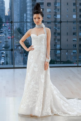 """Bryant"" Ines Di Santo fall 2018 strapless wedding dress a line lace applique details all over"