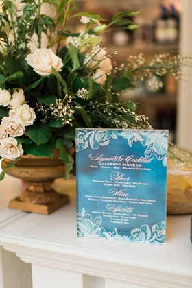 Wedding reception blue and white flower design drink menu with signature cocktail and beer wine