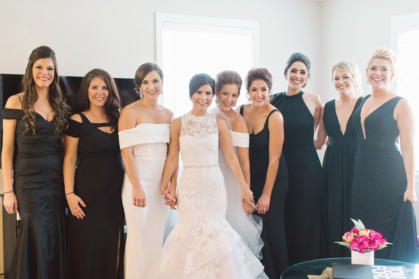 bridesmaids in black dresses katie may, maids of honor in white dresses, bride in monique lhuillier