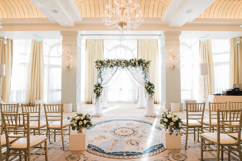 All White Indoor Wedding Ceremony Site: Elegant Indoor Ceremony In Santa