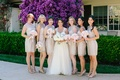 bridesmaids in shimmering champagne lace bhldn knee-length dresses, bride in winnie couture