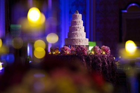 Morgan Pressel wedding cake with lace and flower decorations