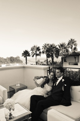 Black and white photo of bride and groom at Bacara Resort