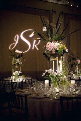 Wedding reception flower arrangement with tulip and rose flowers