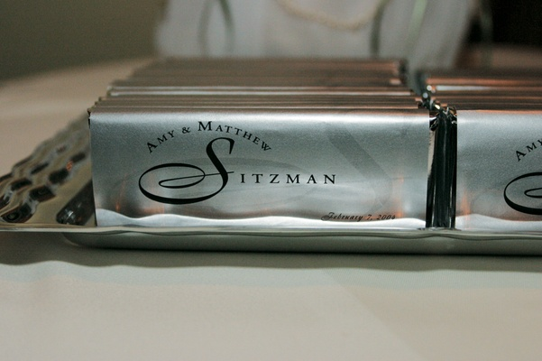 Silver chocolates for guest gifts