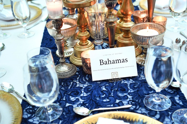 wedding reception blue lace linen gold candlesticks charger bahamas country travel table number name