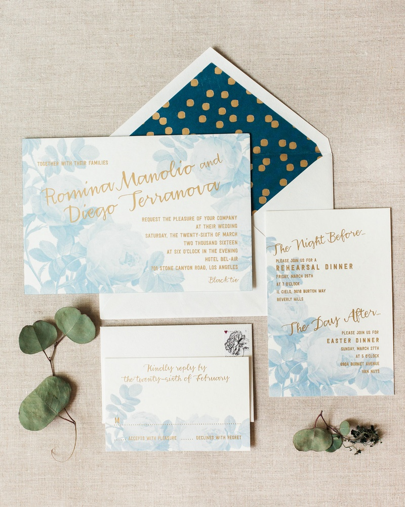 Invitations & More Photos - White, Blue & Gold Invitation Suite ...