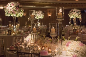 Tall white & pink centerpieces.