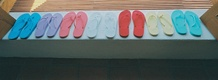 Bridal party sandals in different bright colors