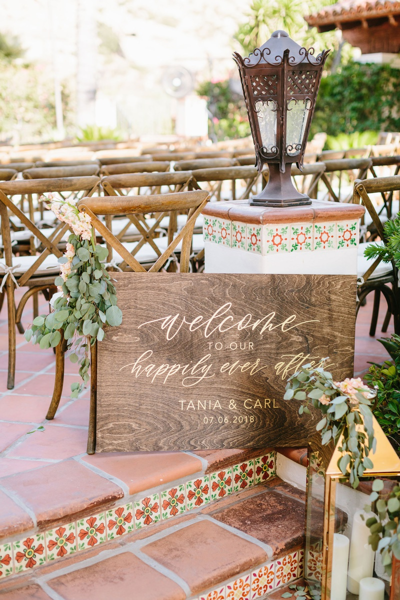 wedding welcome sign wood sign eucalyptus gold calligraphy lettering terracotta spanish style venue
