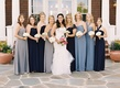 Blue and gray mismatched bridesmaid dresses