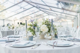 grey and white wedding with blue thistles and lavender flowers