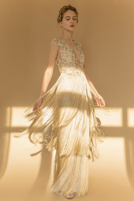 Francesca Miranda Fall 2018 V-neckline hand-embroidered guipiure gown, layers of silk thread fringe