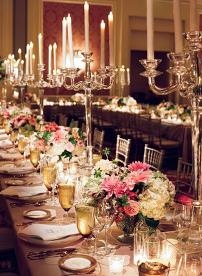 wedding reception long table pink white centerpiece low with tall candelabra crystal gold details