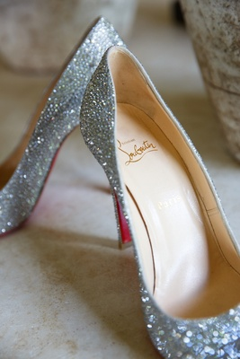 Silver glitter crystal Christian Louboutin wedding shoes