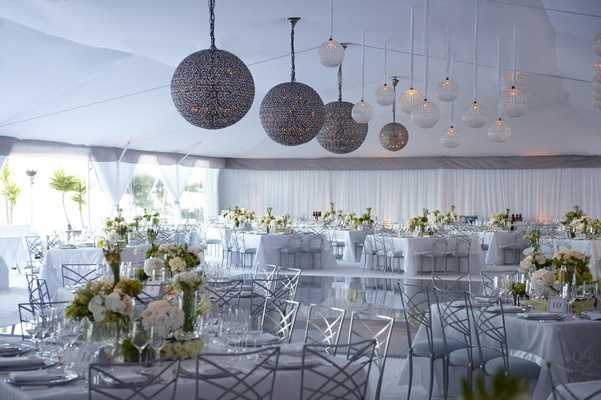 Silver Lanterns At White And Green Tent Wedding Reception