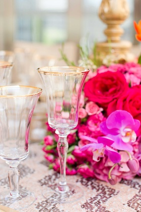 gold rimmed glasses bold fall tablescape jewel tones wedding styled shoot reception decor