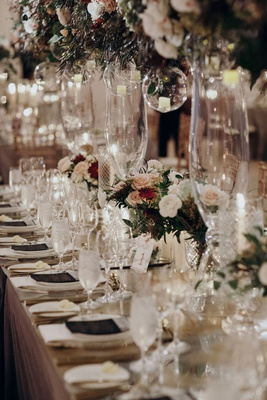 Suzanna Villarreal and Alex Wood LA Dodgers wedding long reception table fall theme color palette